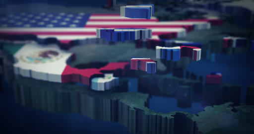 4K North - Central America flag map 3X10 Sec clips Animation