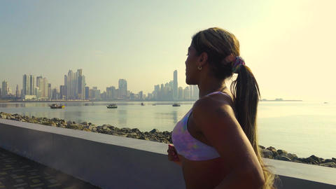 1 Woman Running And Working Out Outdoor At Morning stock footage