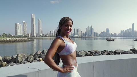 3 Portrait Of Woman Sports Training At Morning In City Footage