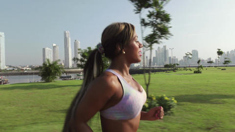 6 Woman Running And Working Out At Morning In Park GIF