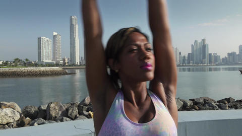 7 Woman Doing Stretching Before Sports Training At Morning Footage