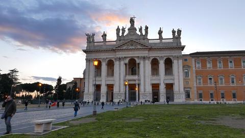 Basilica di San Giovanni in Laterano. Evening. Rome, Italy. 4K Footage