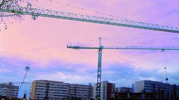 Bucharest, Romania - October 2015 Cranes Working For A New Mall , Static Shot stock footage