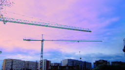 Bucharest, Romania - October 2015 Cranes Working For A New Mall , Zoom In stock footage