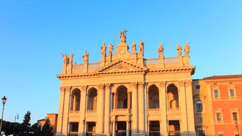 Basilica San Giovanni. Zoom. Sunrise. Rome, Italy. TimeLapse. 1280x720 Footage