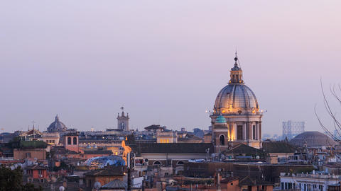 The dome of the Cathedral of Santi Ambrogio e Carlo after sunset. Rome, Italy Footage