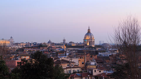 Rome's rooftops, after sunset. Italy. Time Lapse. 4K Footage