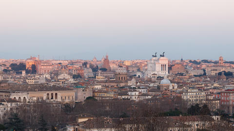 The View From The Janiculum Hill. Panorama. Sunset. Rome, Italy. Time Lapse. 4K stock footage
