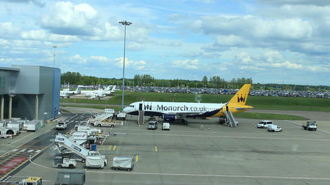 Monarch Airlines Airbus in airport Footage
