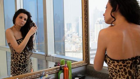 girl's morning mirror Footage