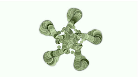 round and circle array shaped swirl flower fancy pattern,long chain,like snake body and monster tail Animation