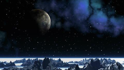 Major planet against a fantastic landscape Stock Video Footage