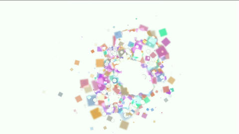 explosion debris and paper card scrap Animation