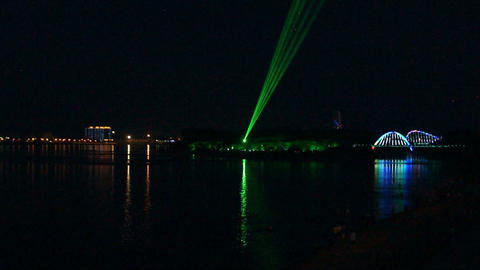 Laser Show on The Amur River Stock Video Footage