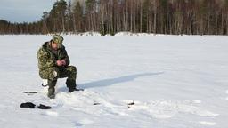 Ice Fishing Success Stock Video Footage
