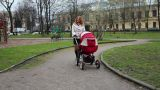Mother WIth Baby Pram in Park Footage