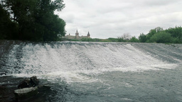Small Waterfall and Medieval Castle Stock Video Footage