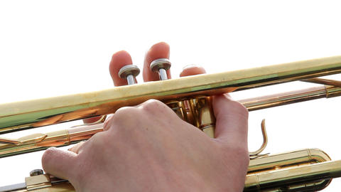 Musician hand plays on trumpet Stock Video Footage
