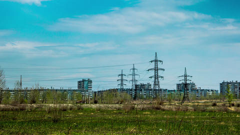 Timelapse of russian cityscape with power lines Stock Video Footage