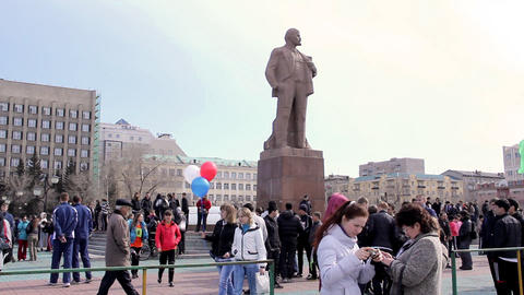 People in square during the May Day demonstration Stock Video Footage