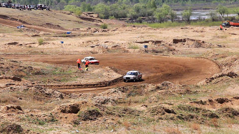 Rally cross of Lada classic cars in russian provin Stock Video Footage