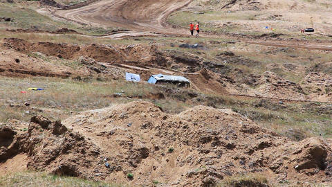 Safety car on rally cross track in russian provinc Stock Video Footage