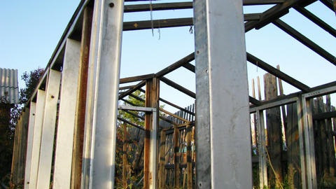 Dismantled greenhouse dolly shot time lapse in lat Stock Video Footage
