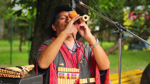 Man plays the Native American instruments 2 Stock Video Footage