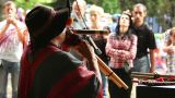 Man plays the Native American instruments 6 Footage