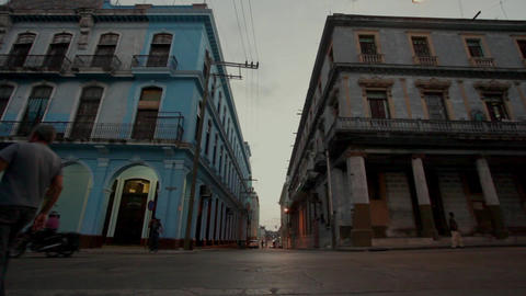 La Havana street scene with two buildings and traffic Footage