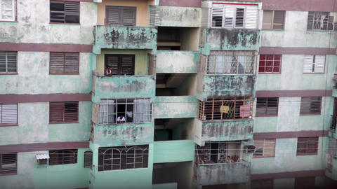 Old residencial building in La Havana Cuba Footage