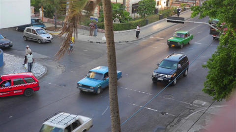 Cars in a street of La Habana, Cuba Footage