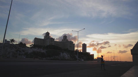 General view of the Hotel Nacional and Malecon in La Havana during sunset Footage