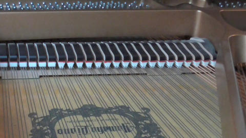 Piano interior, mutes in action Stock Video Footage