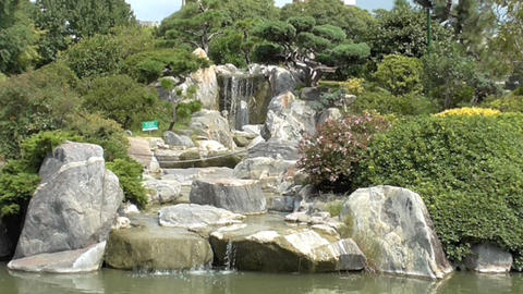 Water Cascade in the Japanese Garden of Buenos Aires Footage
