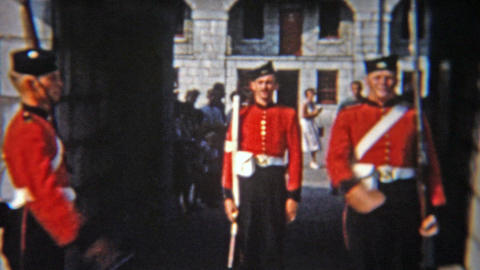 1956: Military soliders change of guard ceremony at the important castle Footage
