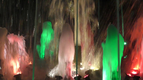 Fountain at night Footage