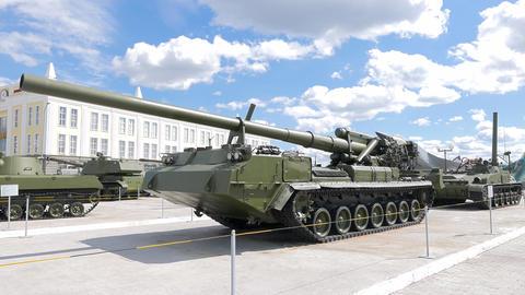 Self-propelled artillery. Pyshma, Ekaterinburg, Russia. 4K Footage