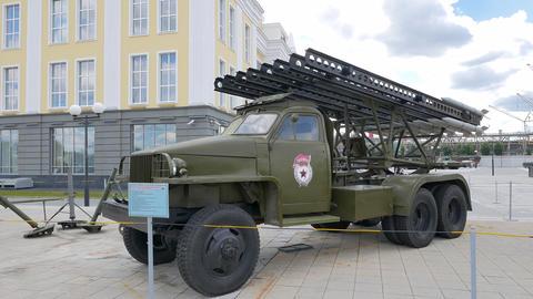 Fighting vehicle rocket artillery BM-13 H model 1943. Pyshma, Ekaterinburg, Russ Footage