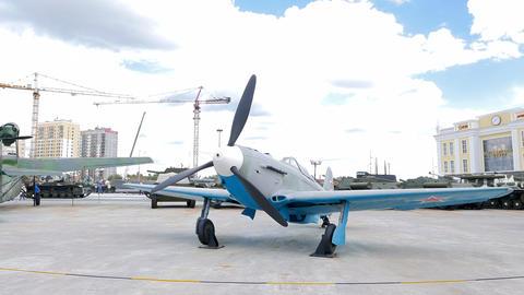 Tactical fighter Yak-9 model 1942. Pyshma, Ekaterinburg, Russia. 4K Footage