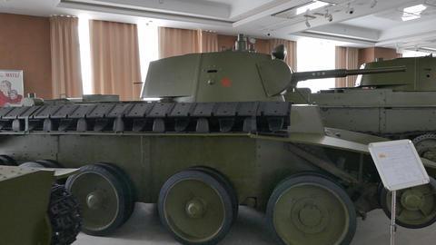 Vintage tanks. Pyshma, Ekaterinburg, Russia Footage