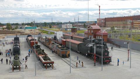 Trains and Peron. Pyshma, Ekaterinburg, Russia Footage