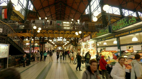 The central market in Budapest. 4K Footage