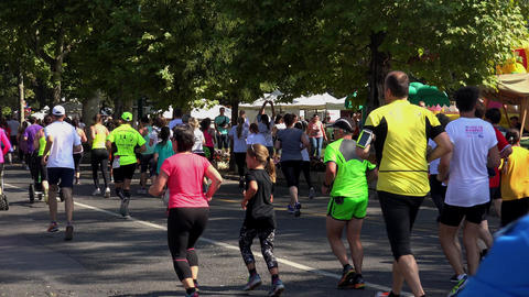 People running race in park. Cross. 4K Footage