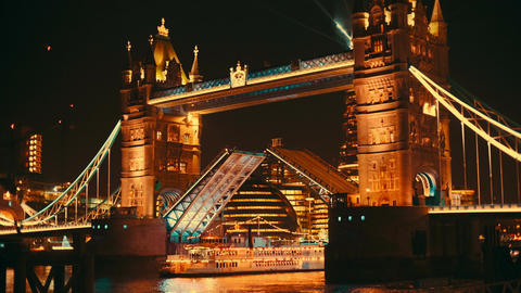 Close-up of Tower Bridge London Lift Opening Footage