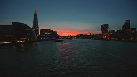 Sunset View Of The River Thames In London stock footage