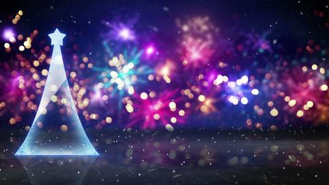 christmas tree and fireworks seamless loop animation 4k (4096x2304) Animation