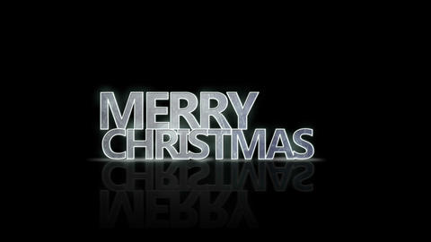 merry christmas neon glow text with reflection loop 4k (4096x2304) Animation