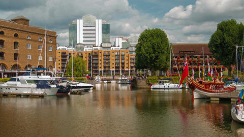 Timelpase of St Katharine Docks in London, UK Footage