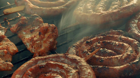 Ultra Close-up Barbecue (BBQ) Shot Showing Pork, Beef, Poultry and Chicken Meat Footage